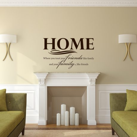 Family Themed Vinyl Wall Decal Quote - Home: Where You Treat Your Friends Like Family and Your Family Like Friends