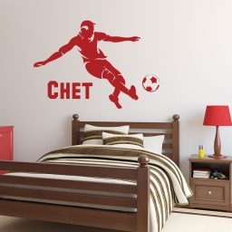 Soccer Player Wall Decal - Personalized Sports Vinyl Wall Sticker Boys Bedroom or Playroom -