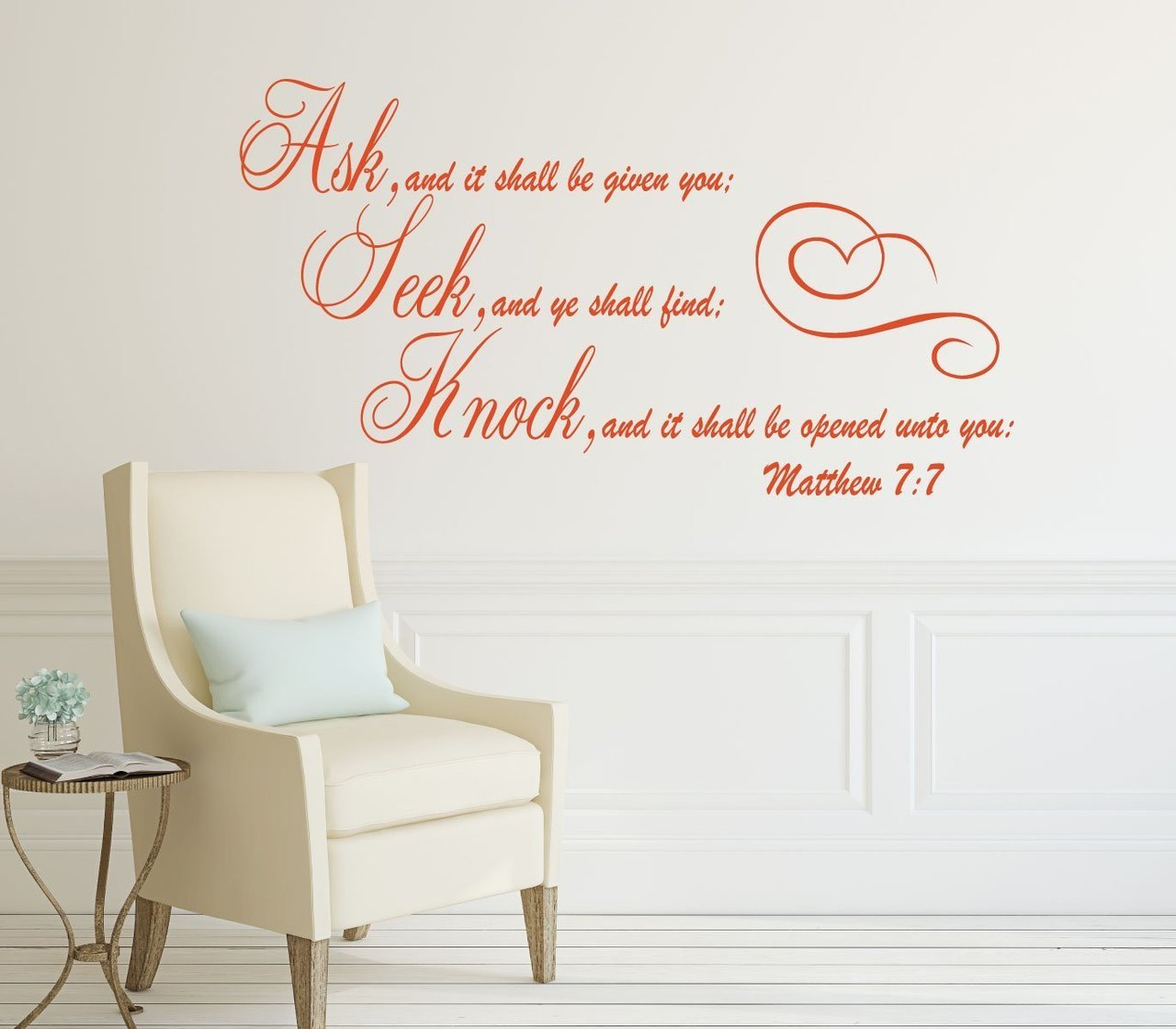 Bible Verses Wall Decals - Ask, Seek, Knock - Matthew 7:7 Scripture Home Decor Lettering