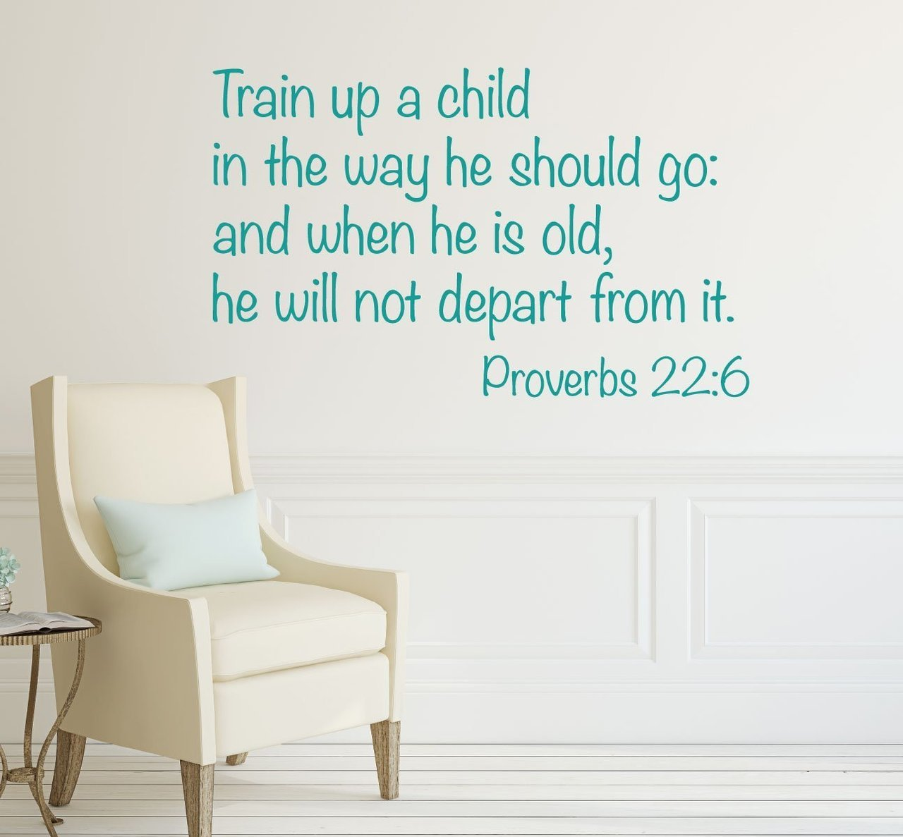 Bible Verse Wall Decals - Proverbs 22:6 - Train Up A Child - Christian Home Decor Vinyl Lettering