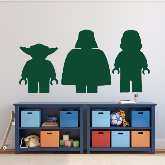 Lego Star Wars Wall Decals With Yoda Darth Vader And Storm Trooper Playroom Decals Birthday Decor Customvinyldecor Com