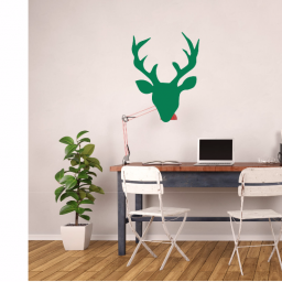 Deer Head Silhouette Vinyl Wall Art Decal Sticker - Deer Decorations for Home