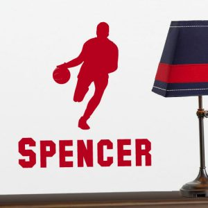 Basketball Player Vinyl Wall Decoration with Personalized Name - Boys Bedroom, Playroom DŽcor