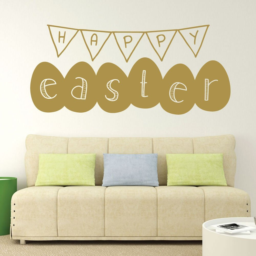Happy Easter Banner, Vinyl Wall Art, Easter Wall Decals ...