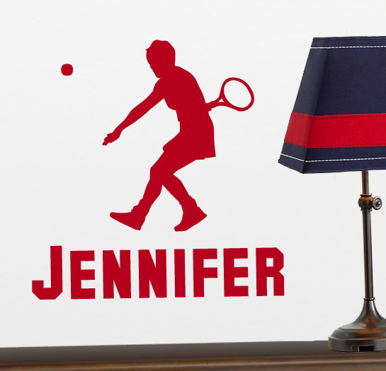 Tennis Player Silhouette Vinyl Wall Sticker with Personalized Name for Women, Girls Bedroom, Office