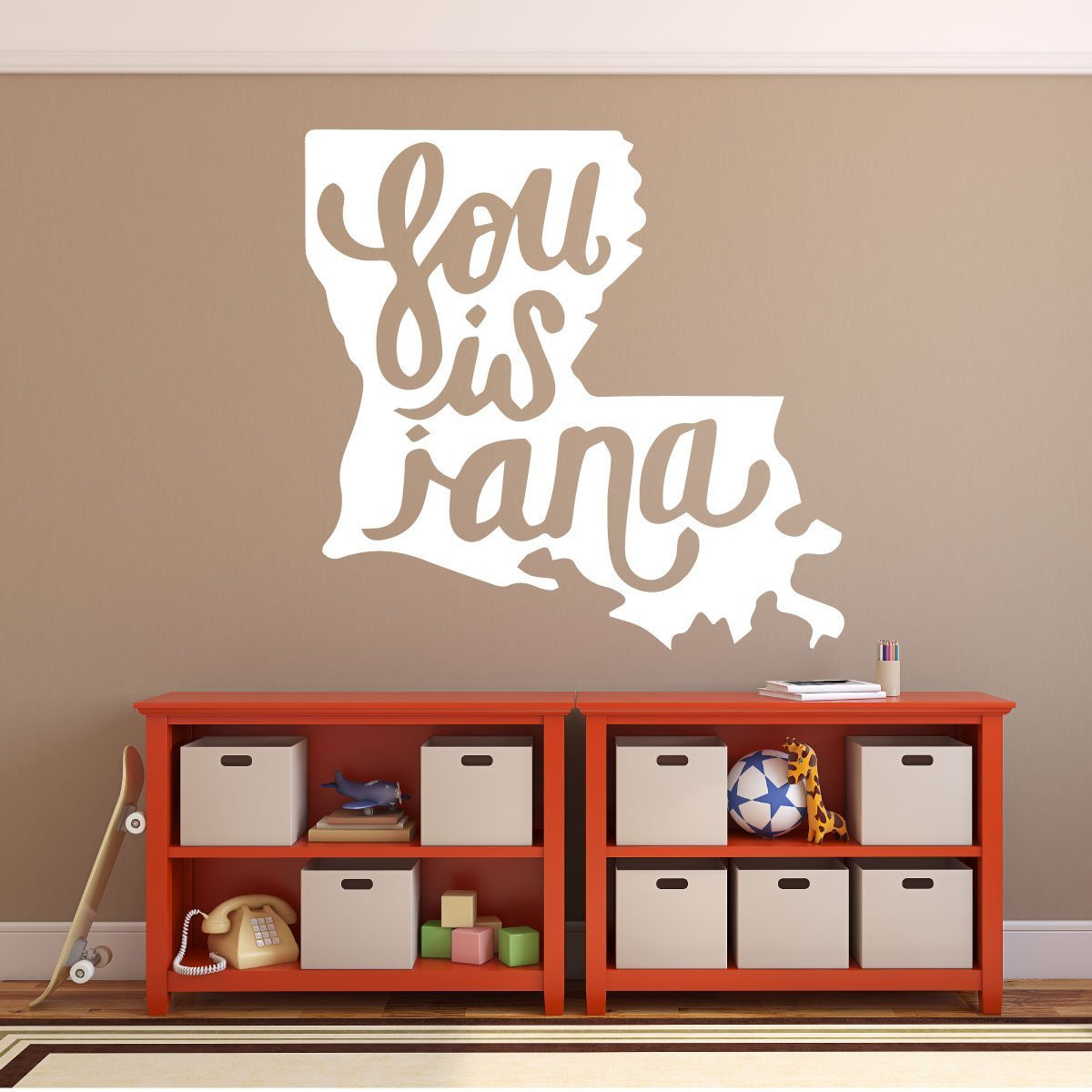 Louisiana Home Decor - State Vinyl Wall Decal with Louisiana in Cursive