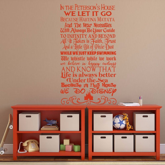 disney quotes wall decal - personalized family sign