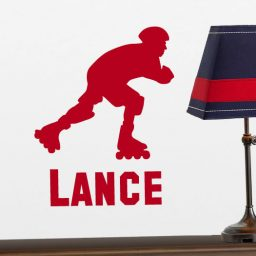 Personalized Roller Blading Vinyl Wall Decal - Sticker Silhouette with Customized Name for Boys Bedroom, Playroom, Gameroom