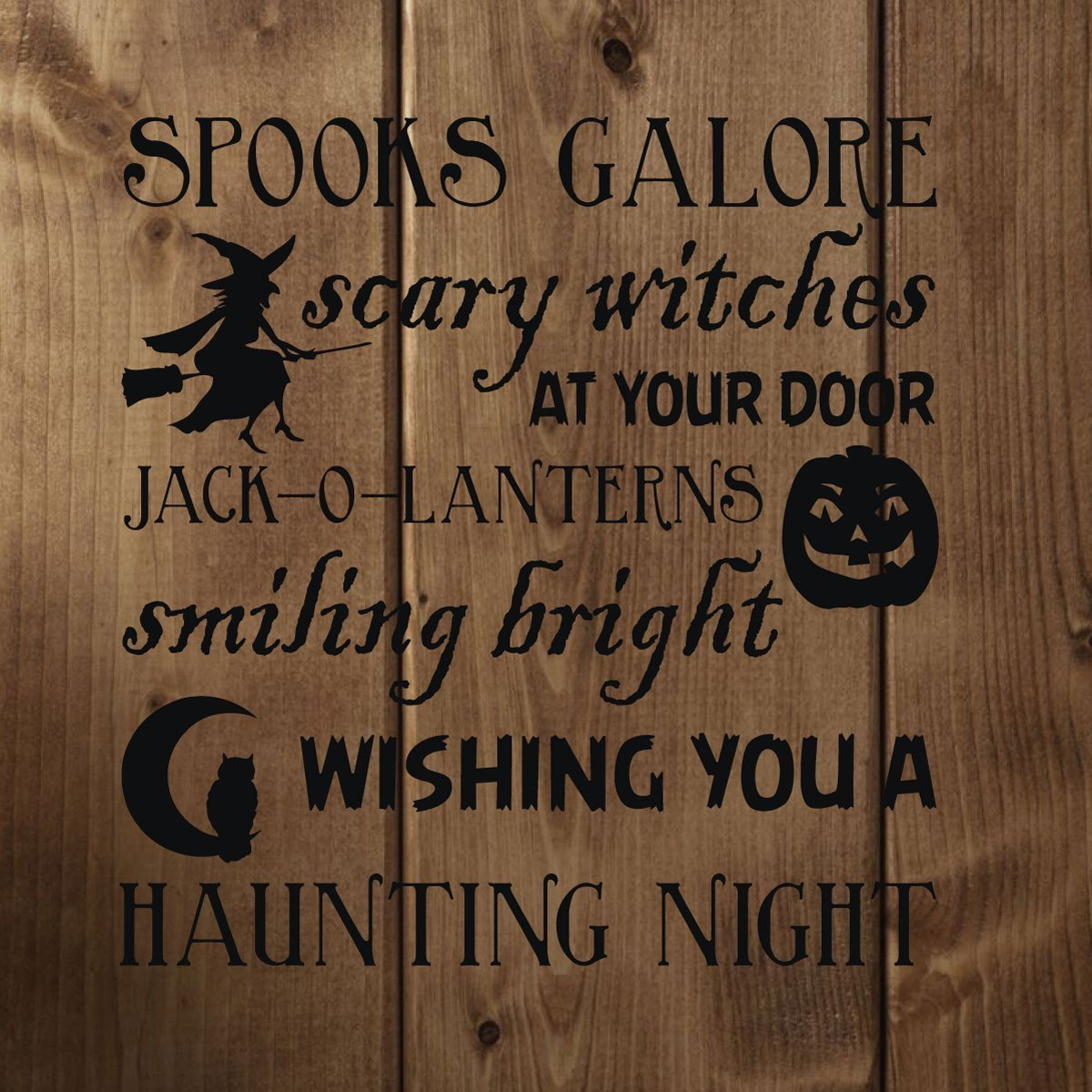 Halloween Decor - Halloween Poem Vinyl Wall Decal - Witches, Jack-O-Lanterns, Trick or Treat