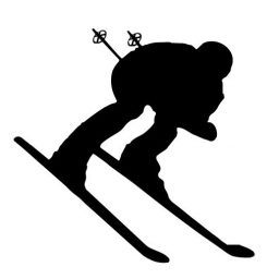 Downhill Snow Skier Vinyl Wall Decal - Skiing Silhouette Decor for Home, Lodge, Resort