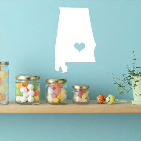 "Alabama State Vinyl Wall  Decal - Map Silhouette Sticker Decoration of Yellowhammer, ""Heart of Dixie"" State  - Montgomery Capital Marked with Heart"