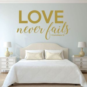 Christian Home Decor - 1 Corinthians 13 - Love Never Fails