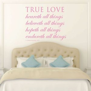 Bible Verse Wall Art - 1 Corinthians 13:7 wall art - True Love...Endureth All Things