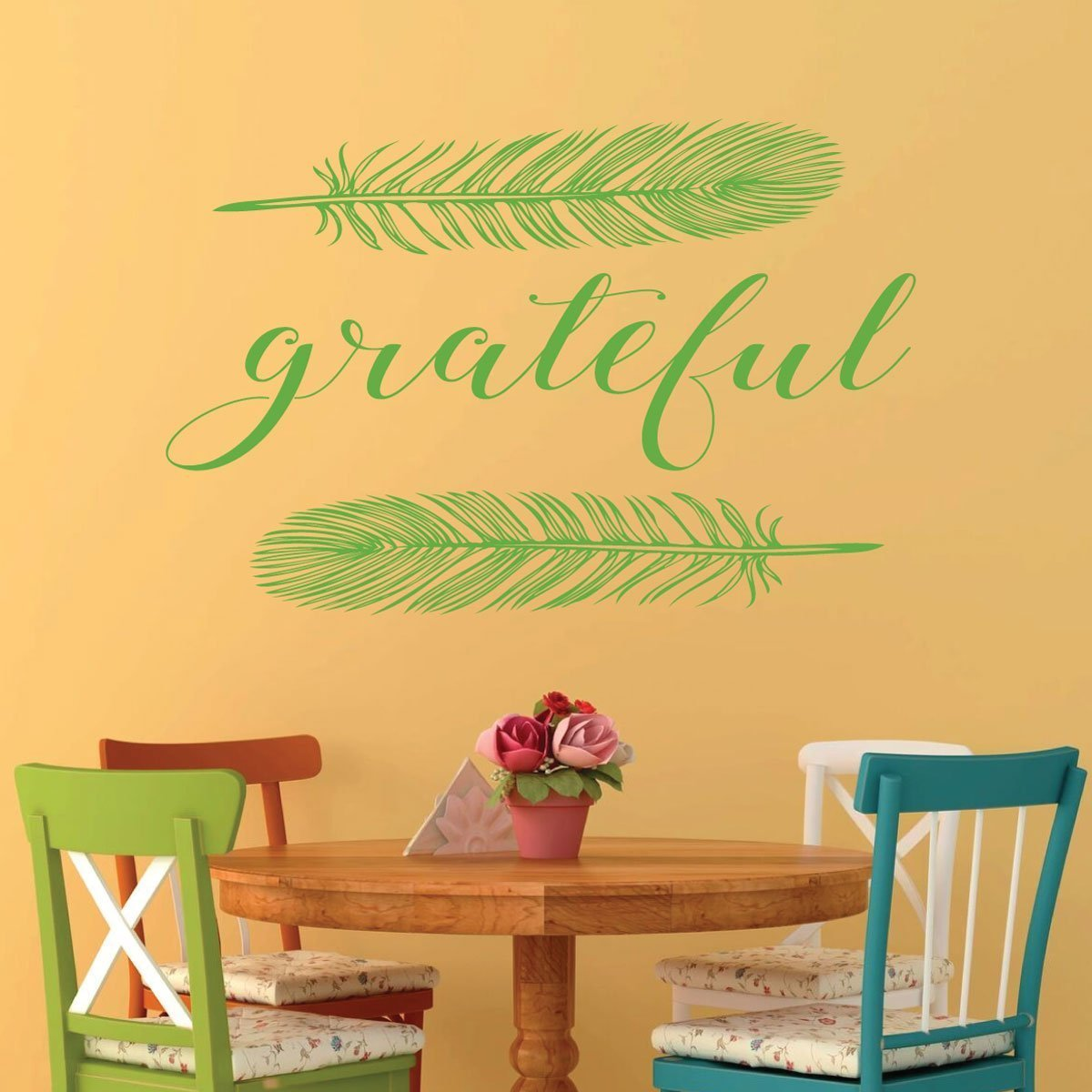 Thanksgiving Decor - Grateful With Feathers - Gratitude