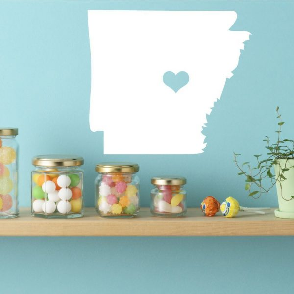 "Arkansas State Vinyl Wall Decal - Map Silhouette Sticker Decoration of ""The Natural State"" - Little Rock Capital Marked with Heart"