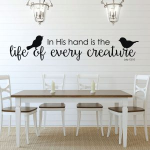 Bible Verse Wall Art - Job 12:10 Wall Decal - In His Hand is the Life of Every Creature