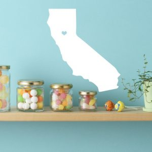 "California State Wall Decal - Map Silhouette Sticker Decoration of ""The Golden State"" - Sacramento Capital Marked with Heart"