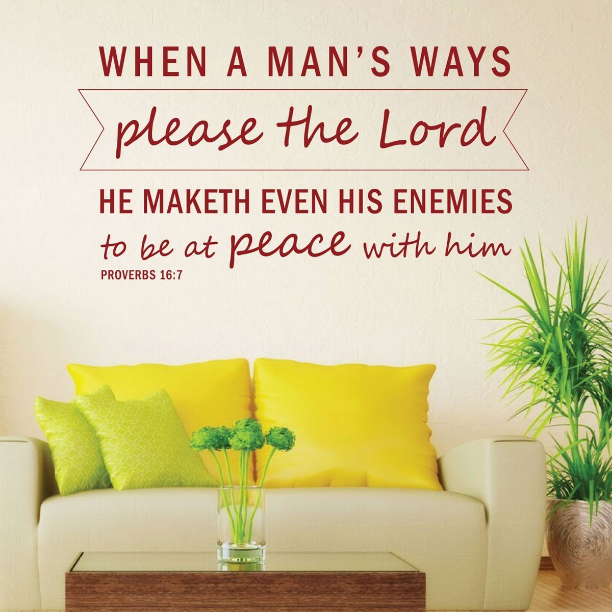 Bible Verse Wall Art - Proverbs 16:7 Wall Decal - When a Man\'s Ways ...