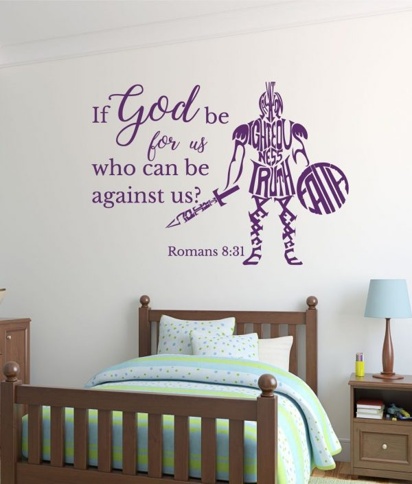 Bible Verse Wall Decals - Romans 8:31 - If God be For Us Who Can Be Against Us