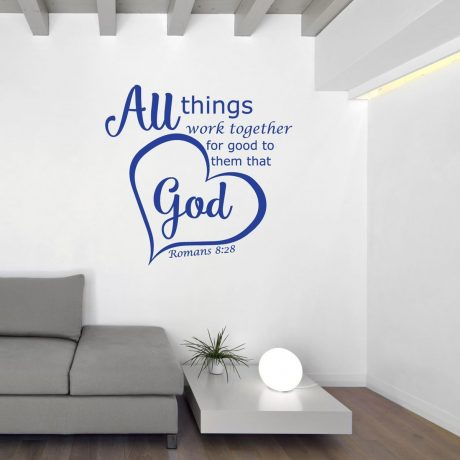 Bible Verse Wall Decals - Romans 8:28 - All Things Work Together For Good to Them That Love God