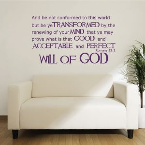Romans 12:2 - Bible Verse Wall Decals - Will of God - Scripture Wall Art