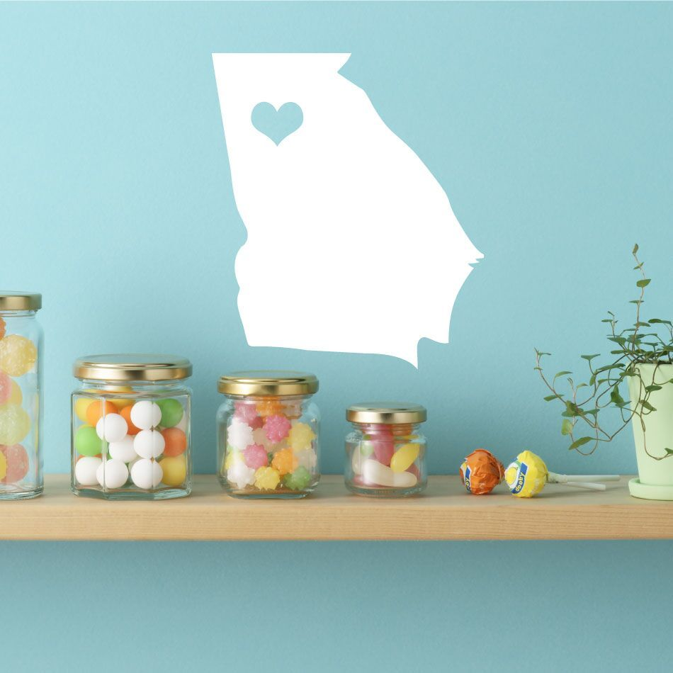 "Georgia State Vinyl Wall Decal - Map Silhouette Sticker Decoration of ""The Peach State"" - Atlanta Captial Marked With Heart"