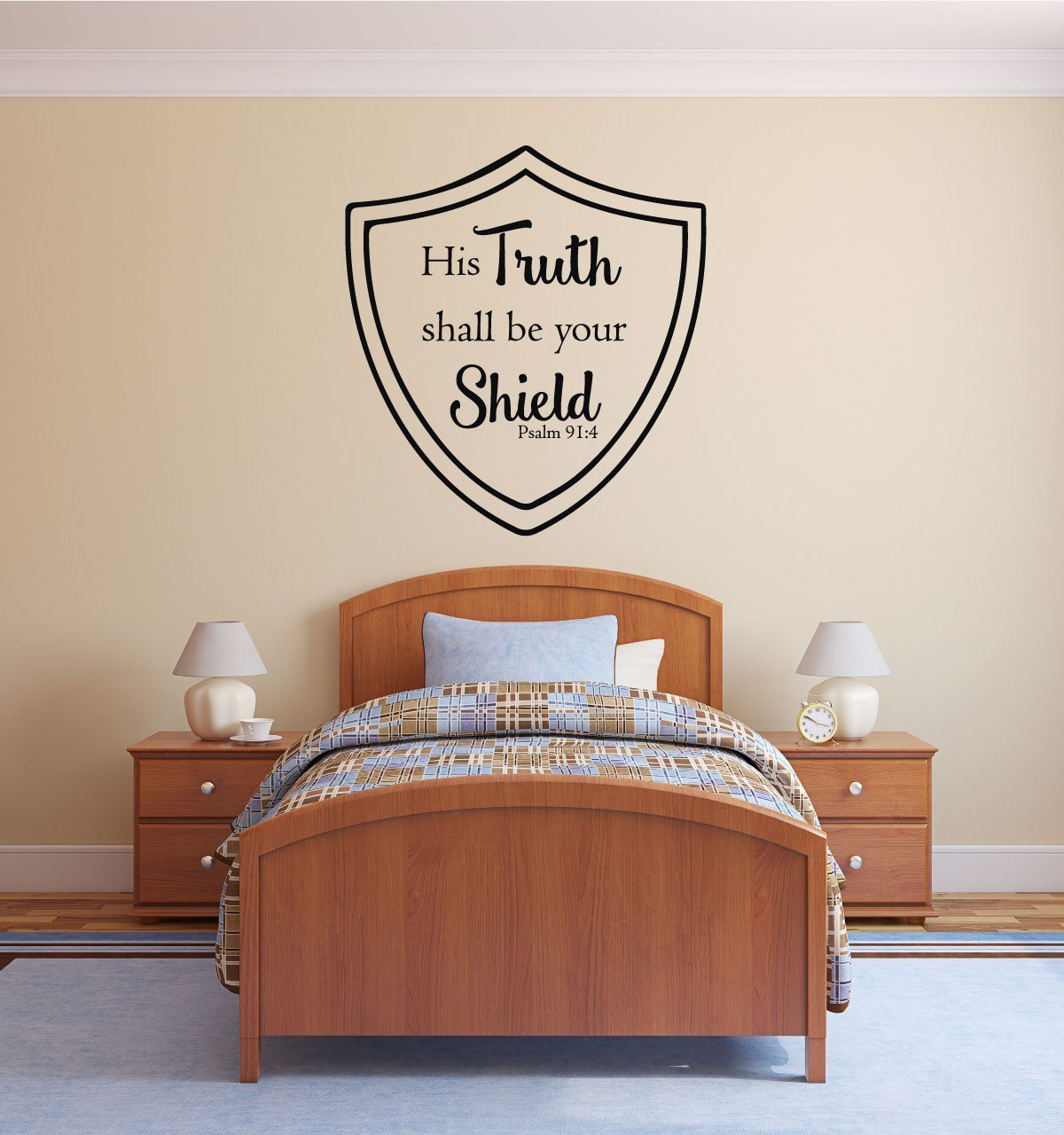Bible Verse Wall Decal - Psalm 27:1 - His Truth Shall Be Your Shield