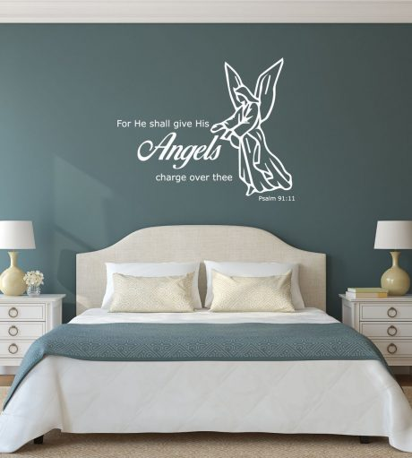 Bible Verse Wall Decal - Psalm 91:11 - For He Shall give His Angels Charge Over Thee
