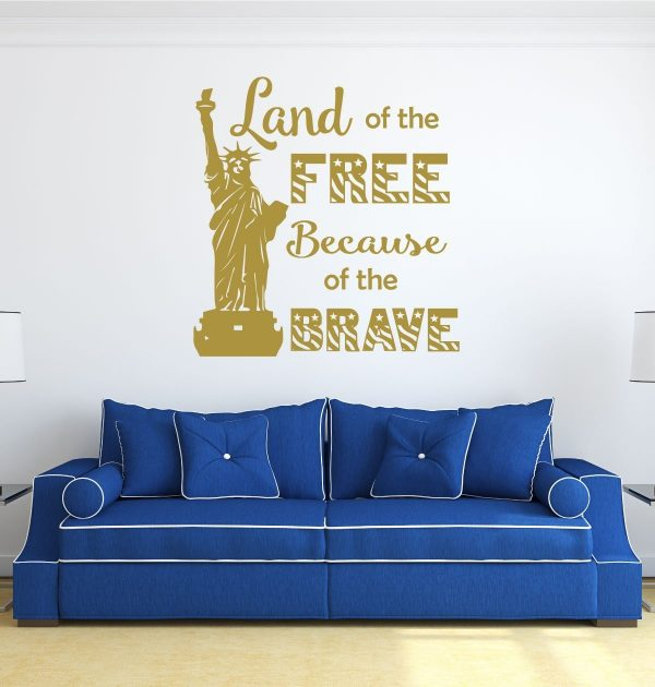 Patriotic Decals - Statue of Liberty, Land of the Free Because of the Brave