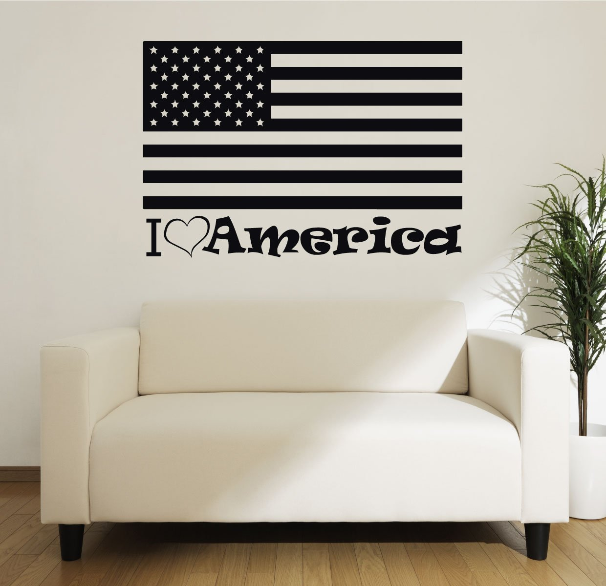 Patriotic Decals - I Love America - American Flag