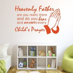 Religious Wall Decals - Heavenly Father Are You Really There And Do You Hear and Answer Every Child's Prayer