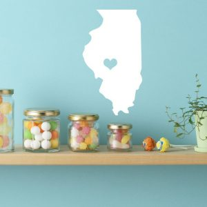 Illinois State Vinyl Wall Decal - Map Silhouette Vinyl Wall Decoration With Heart