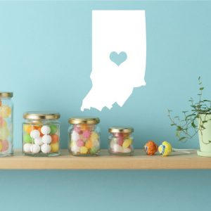 Indiana State Vinyl Wall Decal - Map Silhouette Vinyl Wall Decoration With Heart