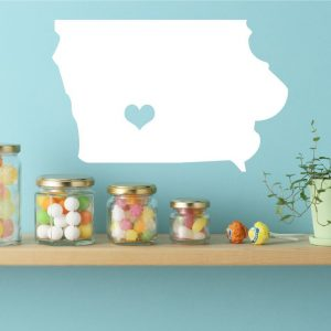 Iowa State Vinyl Wall Decal - Map Silhouette Vinyl Wall Decoration With Heart