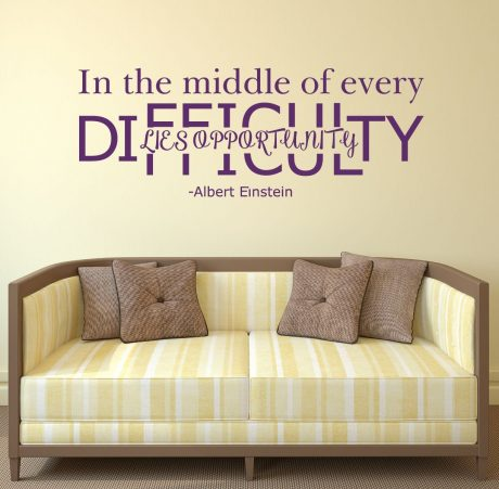 In The Middle of Every Difficulty Lies Opportunity - Albert Einstein