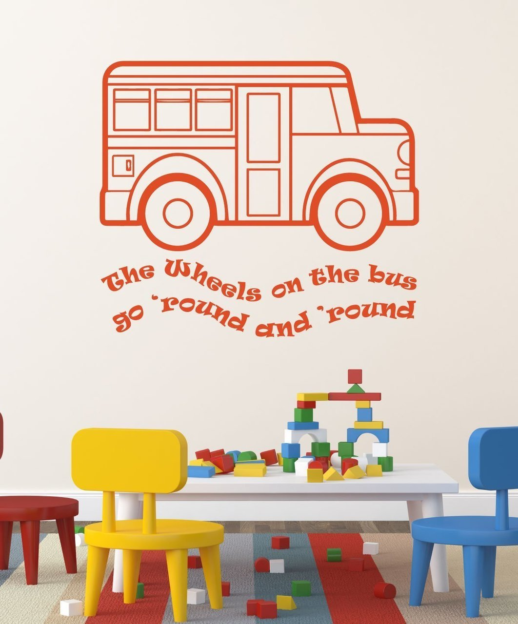 Nursery Rhyme Wall Decals The Wheels On Bus Song Decor For Baby Playroom Preschool Clroom