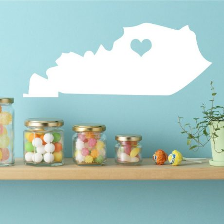 Kentucky State Vinyl Wall Decal - Map Silhouette Vinyl Wall Decoration With Heart