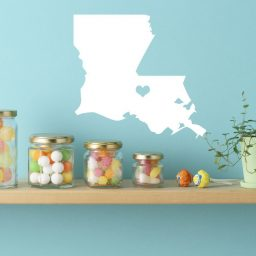 Louisiana State Vinyl Wall Decal - Map Silhouette Decoration With Heart
