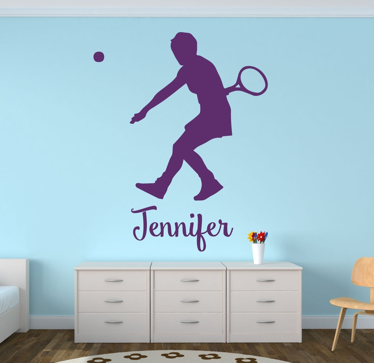 Tennis Wall Decals - Personalized Female Tennis Player (Short Hair)