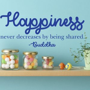 Quote Wall Decals - Happiness Never Decreases By Being Shared - Buddha