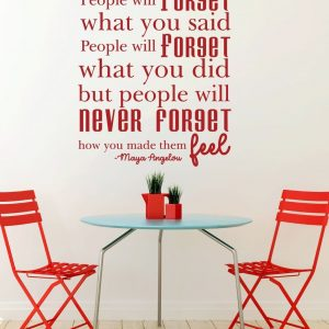 People Will Forget...But People Will Never Forget How You Made Them Feel - Maya Angelou