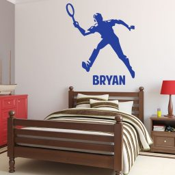 Tennis Wall Decals - Personalized Male Tennis Player