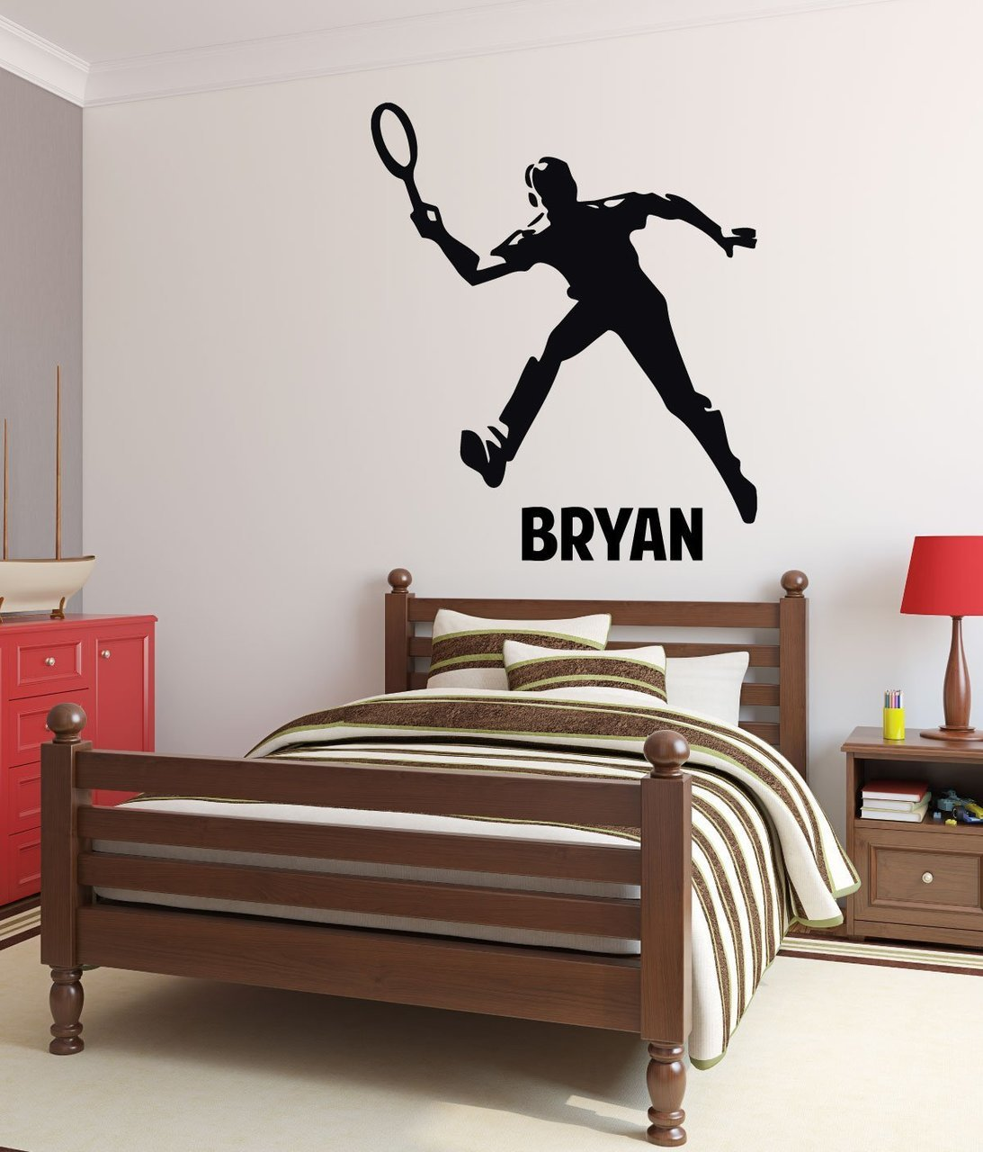 . Tennis Wall Decals   Personalized Male Tennis Player