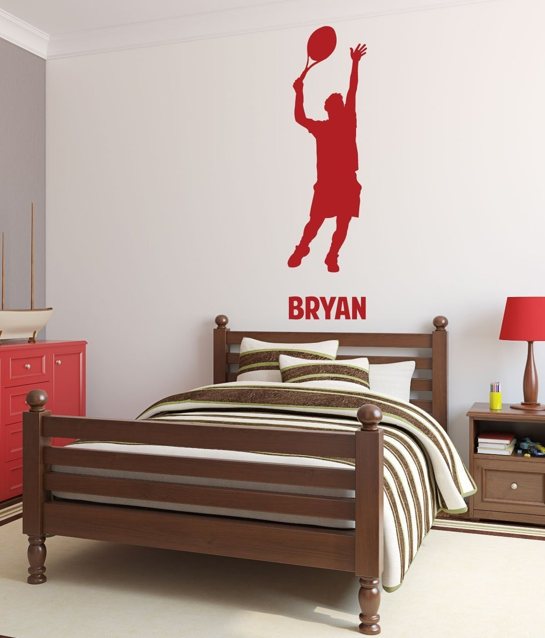 Tennis Wall Decals - Personalized Male Tennis Player Serving
