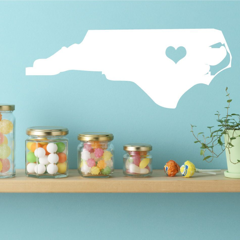 North Carolina State Vinyl Wall Decal - Map Silhouette Decoration