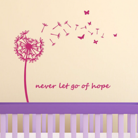 Dandelion Wall Decor - Seeds Flower With Butterflies - Flower Wall Decal - Never Let Go Of Hope