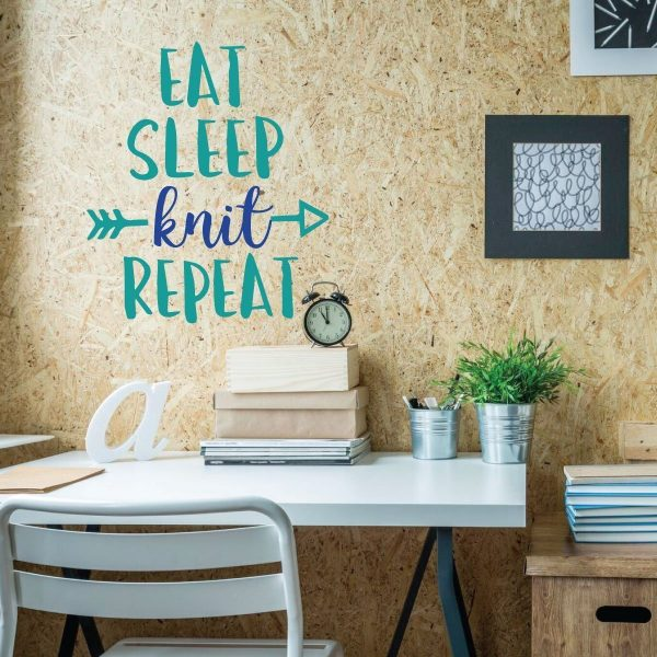 Funny Wall Art - Eat Sleep Knit Repeat
