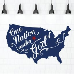 Patriotic Wall Decals - United States Map - One Nation Under God