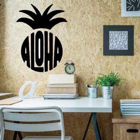 Aloha Wall Decal Sticker With Hawaiian Pineapple Design