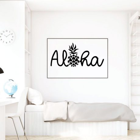 Aloha Wall Decal Sticker With Hawaiian Pineapple Design - Pineapple Decor